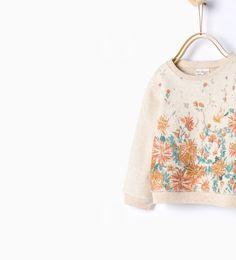 Image 2 of Floral print sweatshirt from Zara