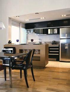 Olha a divisão do piso da da sala com a cozinha Kitchen Interior, Kitchen Decor, Kitchen Dining Combo, Kitchen Dining Room, Sweet Home, Home Kitchens, Home Design Plans, Kitchen Sets, Kitchen Design
