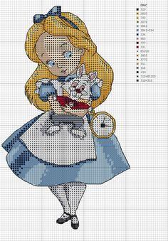 Alice in wonderland ✖ ️❎ cross stitch ❎ ✖ haft krzyżykowy, wzory, haft. Xmas Cross Stitch, Cross Stitch Bookmarks, Beaded Cross Stitch, Cross Stitch Art, Cross Stitch Designs, Cross Stitching, Cross Stitch Embroidery, Alice In Wonderland Cross Stitch, Modele Pixel Art