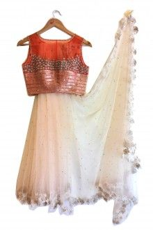 ANJALISHARMA for French Curve White Tulle Sari With Red Blouse- scarletbindi.com