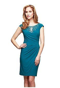 Alex Evenings Cap Sleeve Sheath Dress with Embellished Neckline