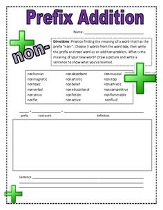 This is a simple worksheet for 3rd graders learning about the prefix non-