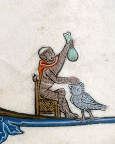 Doctor monkey examining an owl. Book of hours, Arras ca. 1296-1311. Cambrai, BM, ms. 87, fol. 138r - via discarding images
