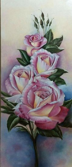 This Pin was discovered by Lil Art Floral, Fabric Painting, Painting & Drawing, Rose Art, Beautiful Roses, Vintage Flowers, Pink Roses, Flower Art, Coloring Pages