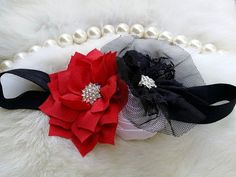 Rojo negro blanco flor bebé diadema lactante diadema, recién nacido diadema/niño venda o niñas diadema o niñas banda de pelo niña