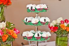 Black and white sheep cupcakes