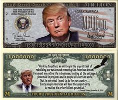 Trump Presidential Million Dollar Novelty Money w/Plastic Protector