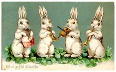 Easter Clip Art - Musical Bunnies - The Graphics Fairy
