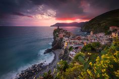 Vernazza right before a thunderstorm hit us at sunset.