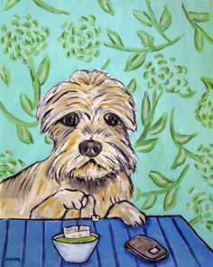 DANDIE DINMONT art PRINT poster pop folk dog painting green tea 8x10 JSCHMETZ #Impressionism