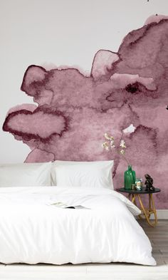 Murals Wallpaper have created a gorgeous watercolour wall mural collection made from handmade prints. This abstract design is perfect for producing a relaxing, contemporary atmosphere. Dusty Pink Watercolour Wall Mural, per square metre, Murals Wallpaper Watercolor Wallpaper, Watercolor Walls, Purple Wallpaper, Pink Watercolor, Trendy Wallpaper, Bedroom Murals, Wall Murals, Bedroom Decor, Wallpaper Murals