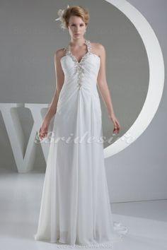 Sheath/Column Halter Floor-length Sleeveless Chiffon Wedding Dress - $109.99