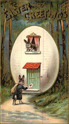 Antique Easter Postcard, Bunny delivering a letter Beatrix Potter, Easter Art, Easter Crafts, Easter Bunny, Easter Eggs, Images Vintage, Vintage Postcards, Vintage Cards, Vintage Easter