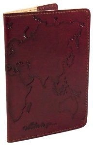 Amazon.com: Handmade Genuine Leather Passport Cover by Eliza Fair Trade - World Map: Office Products