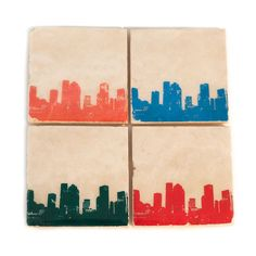 Houston Skyline Coaster Set (4 Stone Coasters) Htown Texas Cityscape Home Decor, Handmade Gift