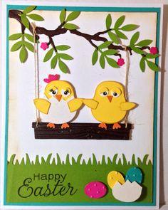 Little chicken punch art  Easter handmade card by Wanda Perez
