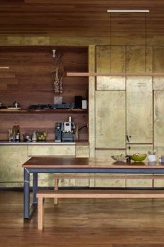 brushed brass cabinets.