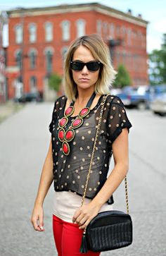 red jeans and polka dots #fallstyle