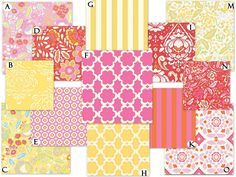Not so bright pinks and yellows    Custom Crib Baby Bedding Set - Taza in Pink and Yellow. $238.00, via Etsy.