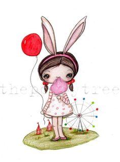 Carnival Rabbit Print by thepoppytree on Etsy