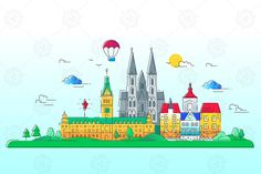 European Countries - Vector Line Travel Illustration EPS