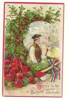 George Washington Axe Cherry c1910 Patriotic Postcard.