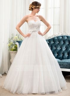 Ball-Gown Sweetheart Floor-Length Organza Lace Wedding Dress With Beading Sequins Bow(s) (002054360) - JJsHouse