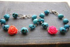 Day of the dead Bracelet blue skulls orange or hot by shabbyskull, $10.00