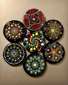 A beautiful box with hand-painted dot mandala on it. Used as a gift box/jewellery box. It also goes well as a decorative storage box for room decor. Size: Small + One random Dot Mandala fridge magnet Mandala Art Lesson, Mandala Artwork, Mandala Painting, Dot Art Painting, Stone Painting, Bottle Painting, Bottle Art, Dotted Drawings, Coaster Art
