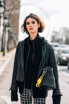 March 8, 2016  Tags Black, Loewe, Women, Prints, Model Off Duty, Models, Monochromatic, Layering, Bags, Key Chains, Headbands, Marte Mei van Haaster, Paco Rabanne, Leather, 1 Person, Makeup, Eyes