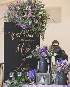 Space Wedding, Wedding Reception, Our Wedding, Wedding Images, Wedding Cards, Welcome Flowers, Welcome Table, Purple Themes, Wedding Welcome
