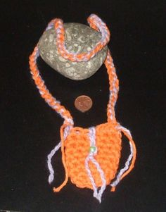 Lucky Penny Pouch  Crochet  Orange & Purple by Sydric on Etsy, $13.00