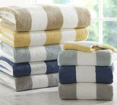 PB Classic Stripe 650-Gram Weight Bath Towels #potterybarn want the tan or gray striped for our hot tub