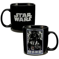 Would you like a dastardly ultimatum with your morning coffee? This Star Wars Darth Vader Join Us or Die Mug features the Dark Lord of the Sith on one side and the Star Wars logo on the other. At 20 o