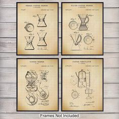 These handmade art prints have a rustic, old time feel showing patents of several types of coffee makers (a Chemex, filter coffee brewer, coffee brewer and coffee percolator) including who invented it and the dates in 8 inch by 10 inch posters. Note, these prints do not come with frames.
