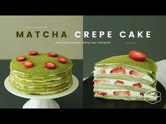 노오븐! 딸기 녹차 크레이프 케이크 만들기:Strawberry green tea(Matcha) crepe cake Recipe:イチゴ緑茶クレープケーキ-Cookingtree쿠킹트리 - YouTube