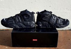 The Supreme Nike Air More Uptempo collaboration gets a first preview in an upcoming Triple Black colorway with 'Supreme' written on the side panels.