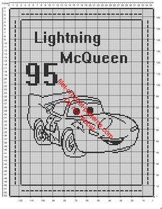Disney Cars Lightning McQueen crochet filet baby blanket free pattern download