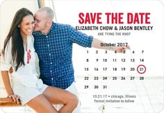 Collective Calendar - Save the Date Magnets in Bright Red or Oasis   Good on Paper