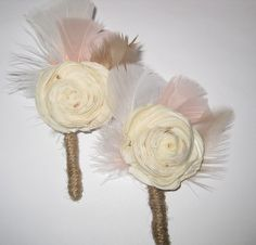 Balsa Wood Flower Boutonniere with feathers by ReflectGlamour, $5.50
