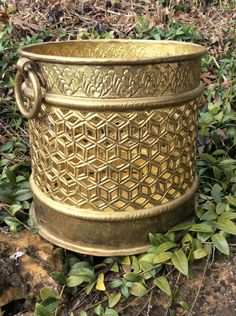 Vintage Heavy, Brass, Filigree, Pot/Planter, Large Brass Container, Hollywood Regency, Mid Century, Bohemian, Storage by YellowHouseDecor on Etsy https://www.etsy.com/listing/259091275/vintage-heavy-brass-filigree-potplanter