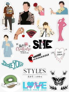 Tumblr Stickers, Cool Stickers, Printable Stickers, Laptop Stickers, Arte One Direction, One Direction Pictures, Imprimibles One Direction, Desenho Harry Styles, Harry Styles Drawing