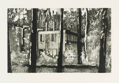 Peter Doig ~ Border House, etching and aquatint on paper, approx. 7 x 11 inches, from the 'Ten Etchings' print portfolio (1996).   Doig's paintings of the 1990s were inspired by the landscapes of rural Quebec, where he spent his childhood. The images in Ten Etchings depict 3 themes, all related to this history: snowscapes, woodland scenes and modernist buildings in dense vegetation.  From tate.org.uk