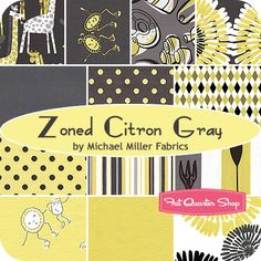 Zoned Citron Gray Fat Quarter Bundle Michael Miller Fabrics - Fat Quarter Shop