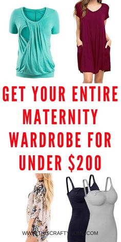 Put together your maternity capsule wardrobe on a budget with these tips for finding cute inexpensive maternity clothes! Plus an example maternity capsule wardrobe. Cute Maternity Shirts, Maternity Stores, Workout Clothes Cheap, Stylish Maternity, Maternity Wear, Maternity Capsule Wardrobe, Pregnancy Wardrobe, Pregnancy Outfits