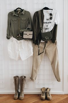 meine-safari-packliste-für-afrika-guide. Left: kahki shirt+white shorts+bron boots+beige crossbody bag. Right_ white graphic t-shirt+beige pants+beige laced boots+olive green bomber jacket+olive green corssbody bag. Fall Casual Outfits 2017