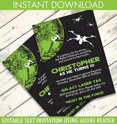 Star Wars Invitation - Star Wars Birthday Party,  Star Wars Party,  Tie-Fighter Green | Editable Text - DIY Instant Download PDF Printable #starwars #invitation