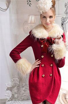2013 Yeni Sezon Kore Modası Lale Formlu Bej Kürk Yakalı Şarap Rengi Japon Style Bayan Kruvaze Ceket Palto Ücretsiz Kargo u181