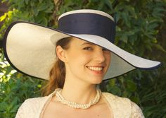 Wide Brim Kentucky Derby Hat. Cream & Navy Church, Wedding Hat. Special Occasion Hat. Ascot..