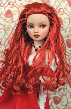 LUCIMARIA  an Ellowyne Wilde Repaint  formerly 'Miss Understood'    (SOLD)      LUCIMARIA features a wild  perm of lusciously loose curls  and a face repainted in warm  pinks, corals, scarlet and sienna.  She is sold nude.